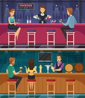 Banners horizontais de Cocktail Bar Cartoon vetor