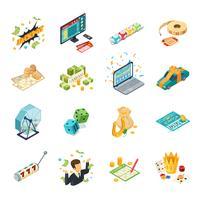 Conjunto de ícones isométrica de loteria