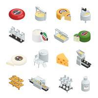 Coleção de ícones isométrica de produção de queijo