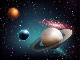 Composição realista de conjunto de planeta vetor