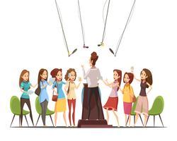 Meninas adolescentes, retro, caricatura, ilustração