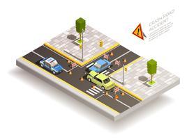 Composição de rua de acidente de carro vetor