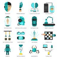 Conjunto de ícones de inteligência artificial vetor