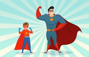 Homem e menino super-heróis ilustração retrô vetor