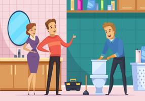 Família de cliente e encanador reparando banheiro