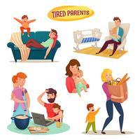 Pais cansados isolados elementos decorativos vetor