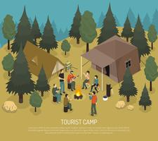 Ilustração isométrica de acampamento turístico