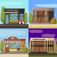 Conjunto de ícones do conceito de lojas