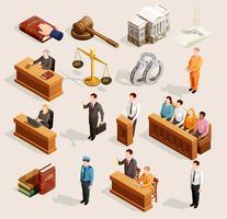 Coleção de elementos do Tribunal do júri vetor
