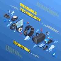 Composição isométrica de tecnologia wearable vetor