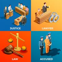 Conceito de Design Isométrico da Justiça vetor