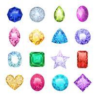 Conjunto de ícones realista de gema vetor