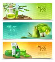 Banners horizontais de árvore de chá