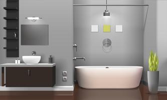 Design de interiores moderno banheiro realista vetor
