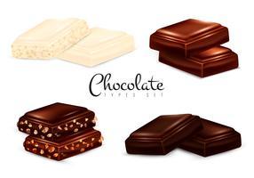 Conjunto de tipos de chocolate realista vetor