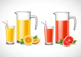 Jarros com suco de citrino vetor