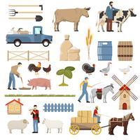 Coleção de elementos de fazenda de gado