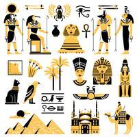 Conjunto de ícones decorativos de símbolos do Egito vetor