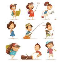 Conjunto de ícones de crianças de acampamento vetor