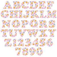 alfabeto padrão floral rosa