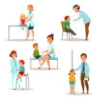 As crianças visitam um conjunto de ícones de médico vetor