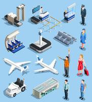 Conjunto de elementos isométricos de aeroporto