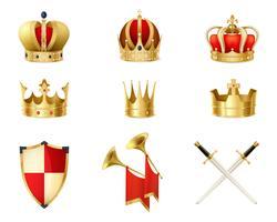 Conjunto de coroas reais douradas realistas vetor