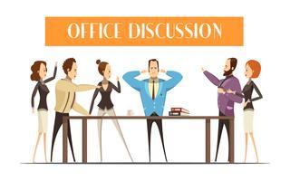 Discussão de escritório Cartoon ilustração de estilo