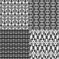 padrões de damasco preto e branco vetor