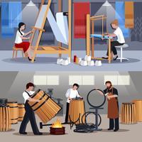 Artesãos de tecelão e tanoeiros Banners plana