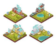 Composições isométricas de casas móveis vetor