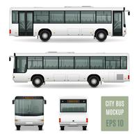 Modelo de publicidade realista de ônibus da cidade