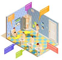 Infografia isométrica de banheiro de higiene