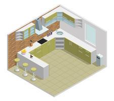Design isométrico interior de cozinha