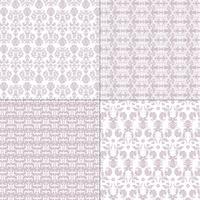 testes padrões roxos e brancos pastel do damasco vetor