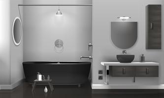 Interior de casa de banho realista com dois espelhos