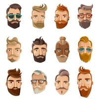 Hipster barbearia Cartoon conjunto de pessoas