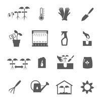 Conjunto de ícones de preto branco de mudas