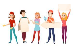 Conjunto de personagens de desenhos animados de pessoas promotores vetor