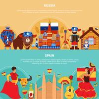 Rússia Espanha Banners de Viagens vetor