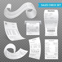 Conjunto Transparente Realista de Recibos de Caixa Registradora