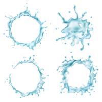 Salpicos de água azul sobre fundo branco vetor