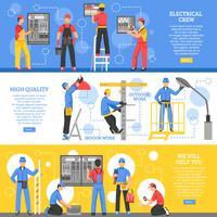 Trabalhos Elétricos Banners Horizontais vetor