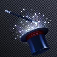 Composição de conto com varinha mágica e chapéu mágico vetor