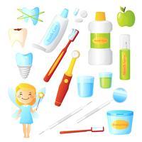 Conjunto de dentista saudável de dentes