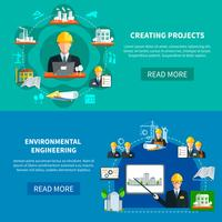Banners horizontais de desenvolvimento de projetos