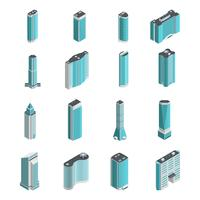 Conjunto isométrico de edifícios modernos