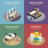 Composições isométricas de limpeza profissional vetor