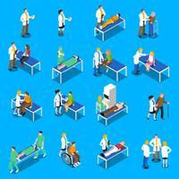 Conjunto de ícones do médico paciente comunicação isométrica vetor