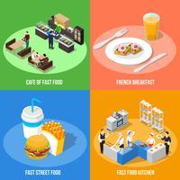 Conceito de Design isométrico Fast Food 2x2 vetor